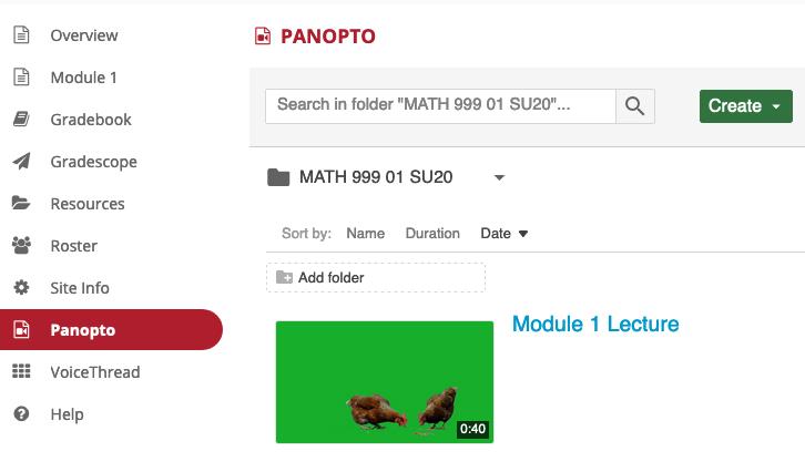 Screenshot showing Panopto in the Tool Menu